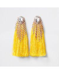 River Island | Yellow Diamante Tassel Drop Earrings Yellow Diamante Tassel Drop Earrings | Lyst