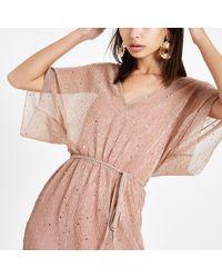 cfda3ea0b94 Lyst - River Island Pink Frill Tie Waist Midi Dress in Pink