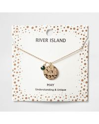 River Island - Green Gem May Birthstone Necklace - Lyst