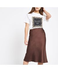 d1359d1da River Island Dark Blue Split Front Denim Midi Skirt Dark Blue Split ...