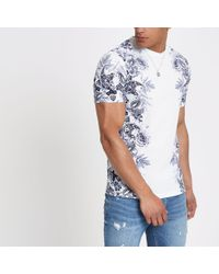 River Island - White Floral Slim Fit T-shirt - Lyst