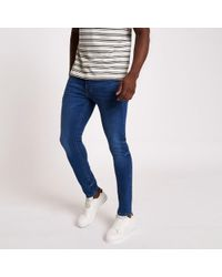 River Island - Mid Blue Eddy Skinny Jeans - Lyst