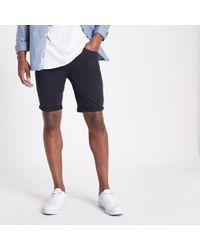 River Island - Navy Skinny Fit Chino Shorts - Lyst