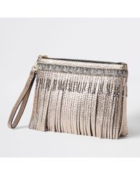 River Island - Gold Metallic Leather Fringe Clutch Bag - Lyst