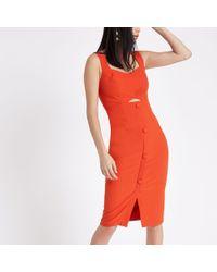 River Island - Orange button front midi bodycon dress - Lyst