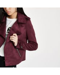 River Island - Dark Faux Suede Cropped Trench Jacket - Lyst