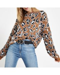 River Island - Leopard Print Slash Neck Jumper - Lyst