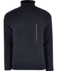 River Island - Only And Sons Navy Pocket Roll Neck Jumper - Lyst
