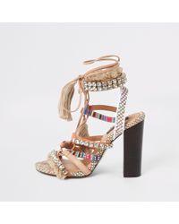 River Island Beige Embellished Fringe Tie Up Heel Sandals