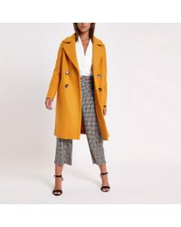River Island - Yellow Wool Double Breasted Coat - Lyst