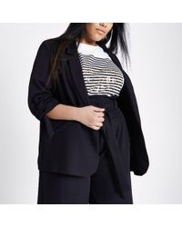 River Island - Plus Black Crepe Ruched Sleeve Blazer - Lyst