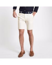 River Island - Big And Tall White Belted Chino Shorts - Lyst