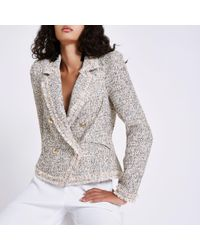River Island - Cream Check Print Boucle Jacket - Lyst