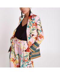 River Island - Pink Floral Mix Print Blazer - Lyst