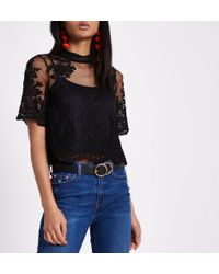 River Island - Black High Neck Lace Crop Top - Lyst