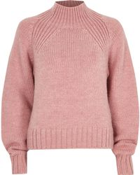 River Island - Pink High Neck Chunky Knit Jumper - Lyst