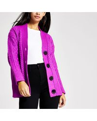 River Island Cable Knitted Oversized Cardigan - Purple