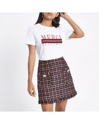 River Island - Petite Red Dogtooth Print Boucle Skirt - Lyst