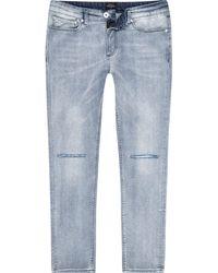 River Island - Light Blue Ripped Knee Wash Skinny Sid Jeans - Lyst