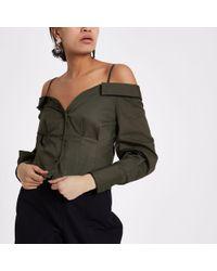 River Island - Khaki Green Cold Shoulder Deconstructed Shirt - Lyst