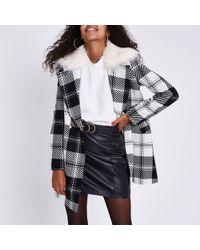 River Island - Check Faux Fur Collar Swing Coat - Lyst