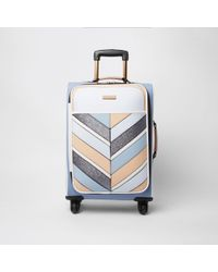 River Island - Blue Stripe Glitter Four Wheel Suticase - Lyst
