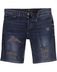 River Island | Dark Blue Ripped Skinny Fit Denim Shorts Dark Blue Ripped Skinny Fit Denim Shorts | Lyst