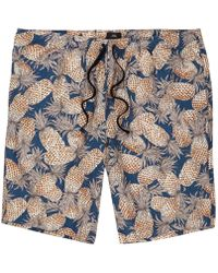 River Island | Navy Pineapple Linen Blend Slim Fit Shorts | Lyst