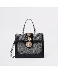 River Island - Black Mixed Textured Lock Front Tote Bag - Lyst