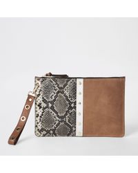 River Island - Brown Snake Print Leather Pouch Clutch Bag - Lyst