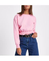 River Island - Light Pink Shirred Hem Cropped Sweatshirt - Lyst