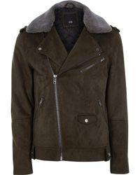 River Island - Green Faux Suede Fleece Collar Biker Jacket - Lyst