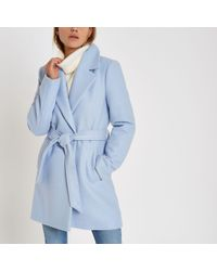 River Island - Wool Belted Robe Coat - Lyst