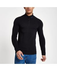 River Island - Black Muscle Fit Long Sleeve Polo Shirt - Lyst