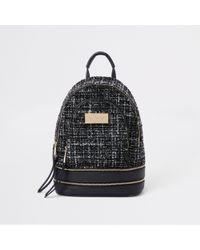 River Island - Black Boucle Mini Backpack - Lyst