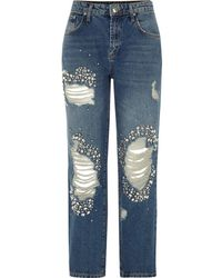 River Island - Mid Blue Embellished Ripped Boyfriend Jeans Mid Blue Embellished Ripped Boyfriend Jeans - Lyst