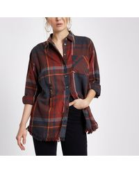 River Island - Check Oversized Ripped Hem Shirt - Lyst