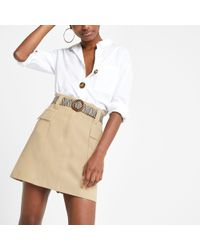 River Island - Belted Mini Utility Skirt - Lyst