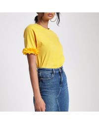 River Island - Yellow Flower Sleeve Boxy T-shirt - Lyst