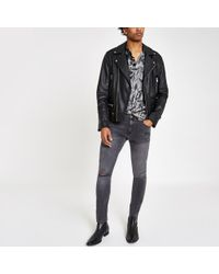 River Island - Black Wash Ollie Spray On Ripped Jeans - Lyst