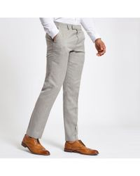 River Island - Light Slim Fit Suit Trousers - Lyst