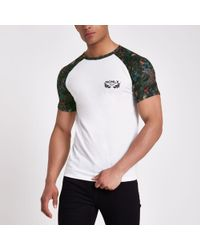 River Island - White 'paradise' Muscle Fit Raglan T-shirt - Lyst