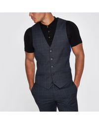 River Island - Check Suit Waistcoat - Lyst