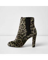 River Island - Khaki Green Leopard Print Chelsea Boots - Lyst
