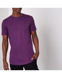 River Island - Purple Longline Curved Hem T-shirt - Lyst