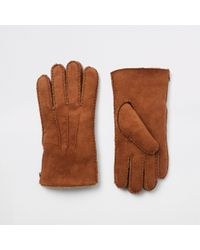 River Island - Suede Fleece Lined Gloves - Lyst