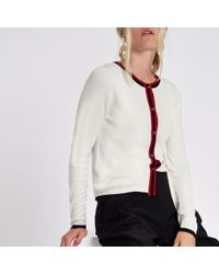 River Island - Cream Stripe Detail Button-up Cardigan - Lyst
