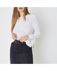 River Island - White Fisherman Rolled Crew Neck Jumper - Lyst