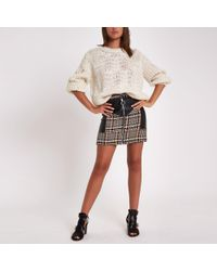 River Island - Check Faux Leather Block Mini Skirt - Lyst
