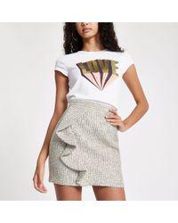 River Island - Green Check Boucle Frill Mini Skirt - Lyst